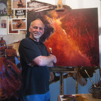 Hyatt Moore in his painting studio